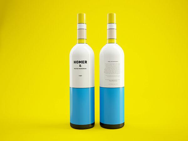 Mondrian Simpsons vino packaging 2