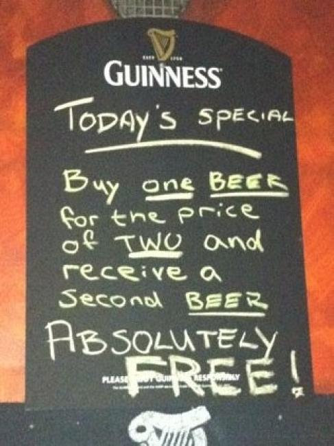 Compra una cerveza por el precio de dos y recibe una segunda cerveza ¡absolutamente gratis!