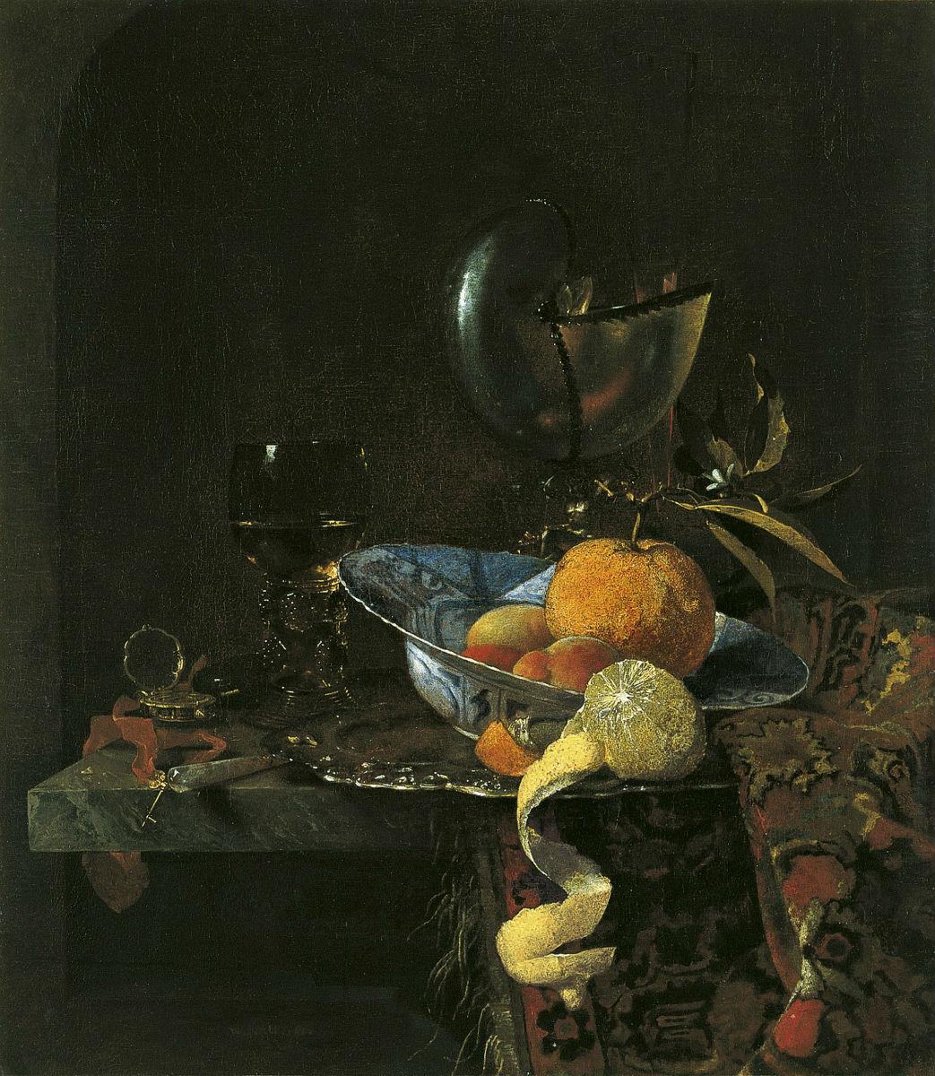 """""""Bodegón con porcelana y copa nautilo"""" (1660), de Willem Kalf"""