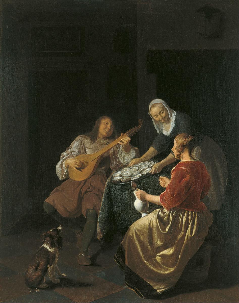 """""""Comiendo ostras"""" (1665-1669), de Jacob Lucasz Ochtervelt"""