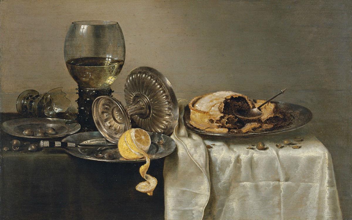 """""""Bodegón con pastel de frutas y diversos objetos"""" (1634), de Willem Claesz"""