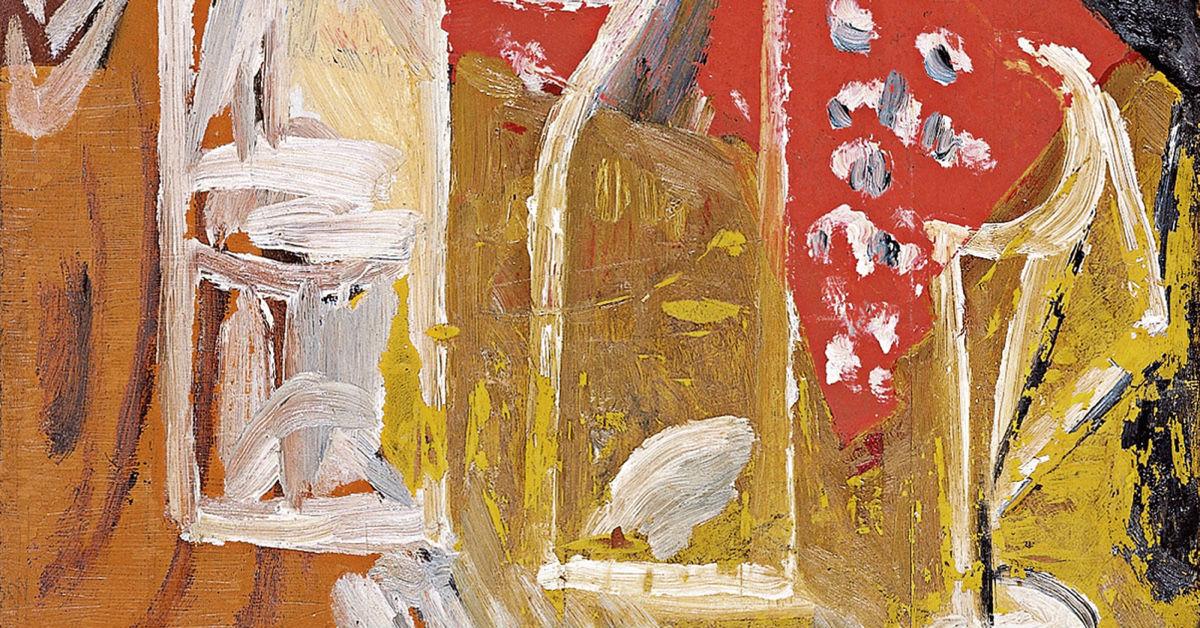 """""""Bodegón con botella y cortinas"""" (1914), de Mijaíl Lariónov"""