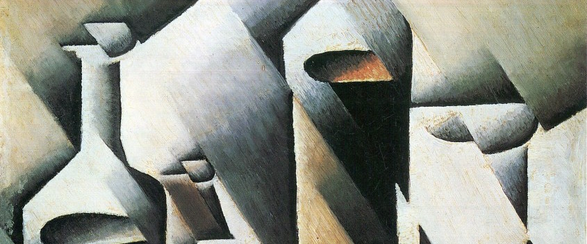 """""""Botellas y cuchillo"""" (1912), de Juan Gris"""