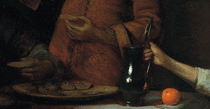 """""""Interior con dos mujeres y un hombre bebiendo y comiendo ostras"""" (1681), de Pieter de Hooch"""