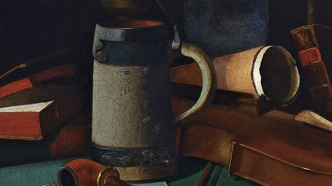 """""""Libros, jarra, pipa y violín"""" (1880), de John Frederick Peto"""