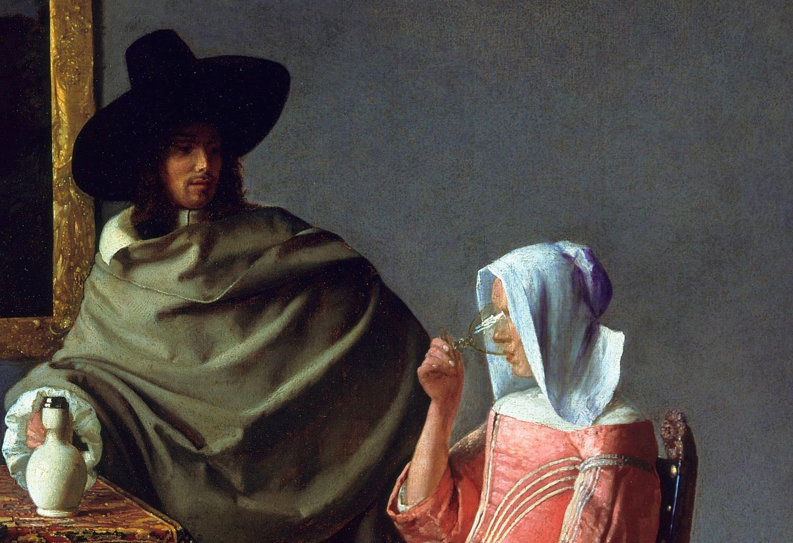 """""""Dama bebiendo con un caballero"""" (1660), de Johannes Vermeer"""