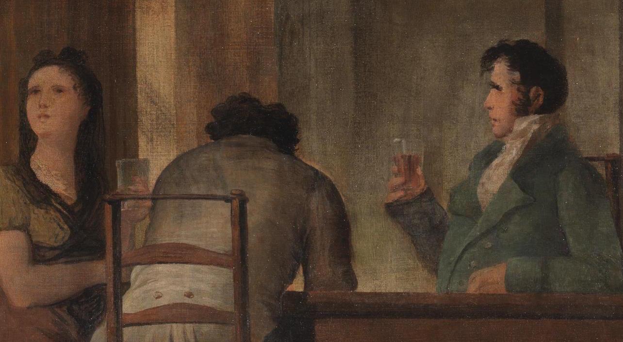 """""""Bebedores sentados a una mesa en el Café de Levante de Madrid"""" (1830), de Leonardo Alenza"""