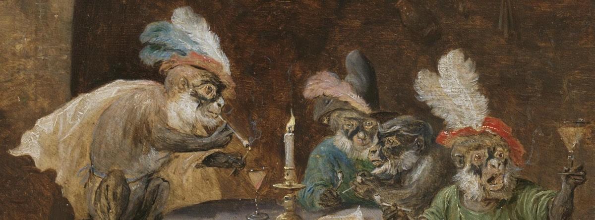 """""""Monos fumadores y bebedores"""" (1660), de David Teniers"""