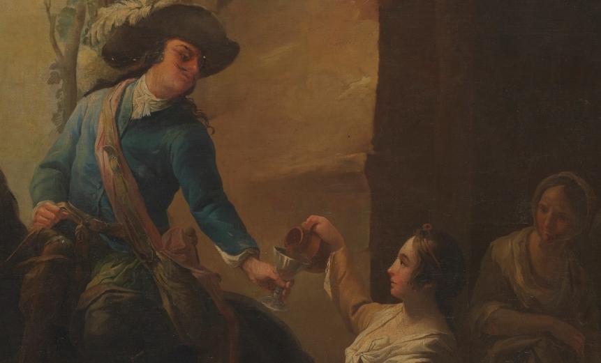 """Mujer dando de beber a un jinete"" (1758-1765), de Matías Téllez"