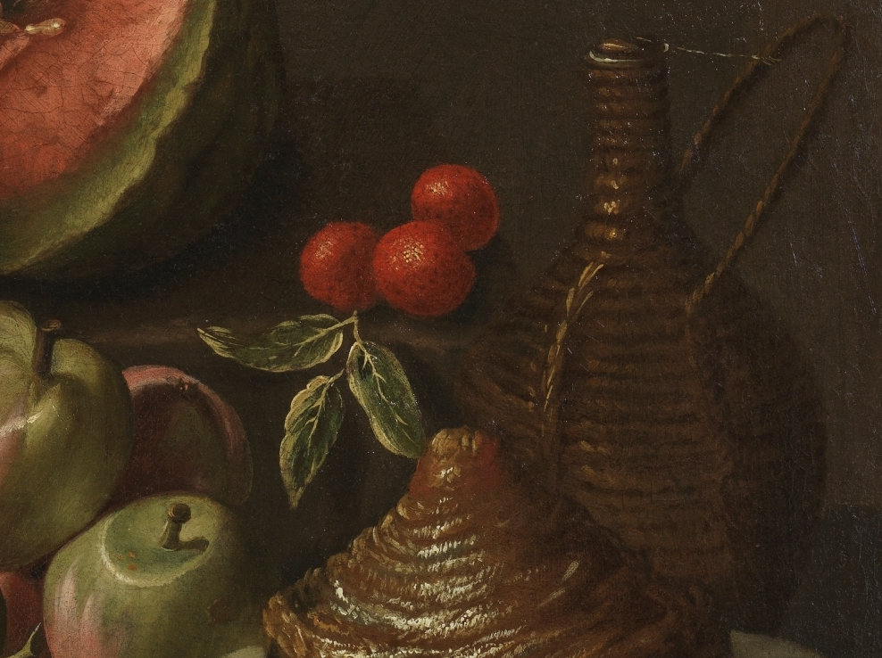 """Bodegón de frutas, garrafa y vaso de vidrio"" (1667), de Gabriel Felipe de Ochoa"