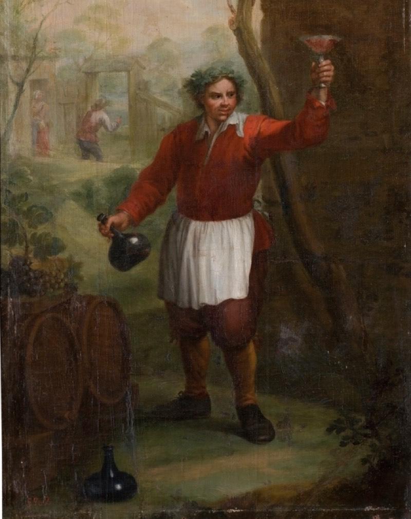 """""""Un hombre con una botella y una copa en las manos"""" (siglo XVIII), de Andrés de la Calleja"""