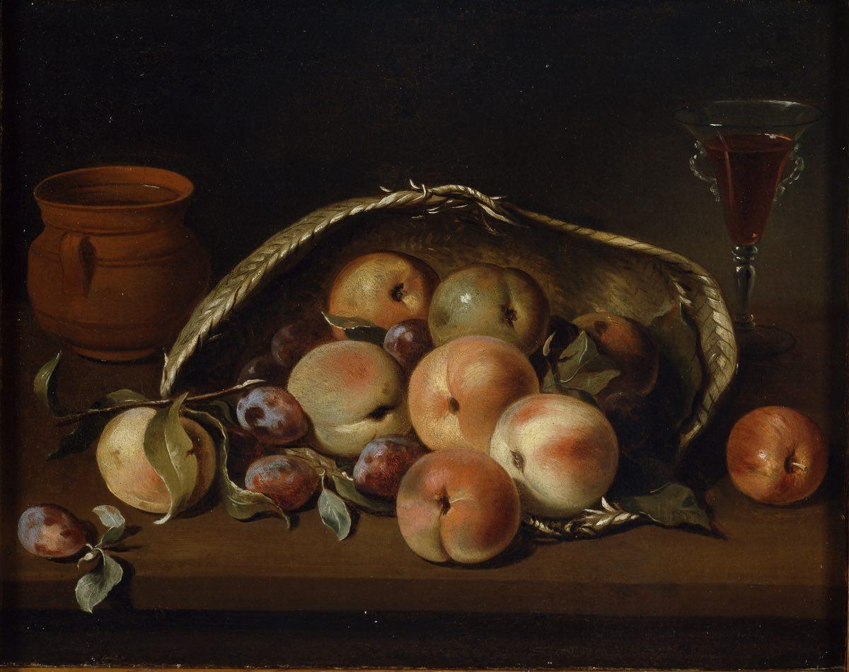 """""""Cesto con melocotones y ciruelas"""" (1654), de Pedro de Camprobín"""
