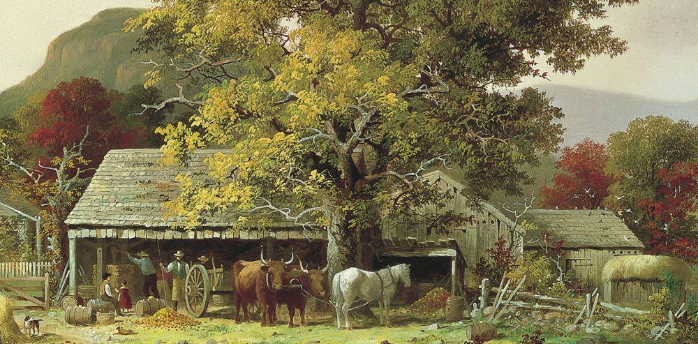 """""""Otoño en Nueva Inglaterra, la elaboración de la sidra"""" (1863), de George Henry Durrie"""