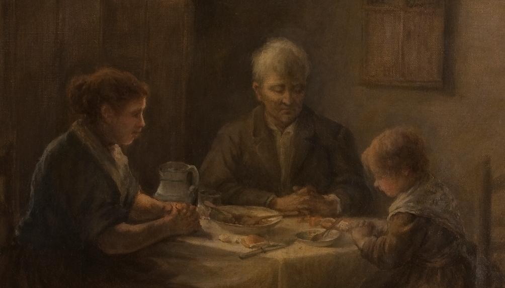 """""""La bendición de la mesa. Hemos cenado"""" (1890 – 1895), de Antonio Gil Montejano"""
