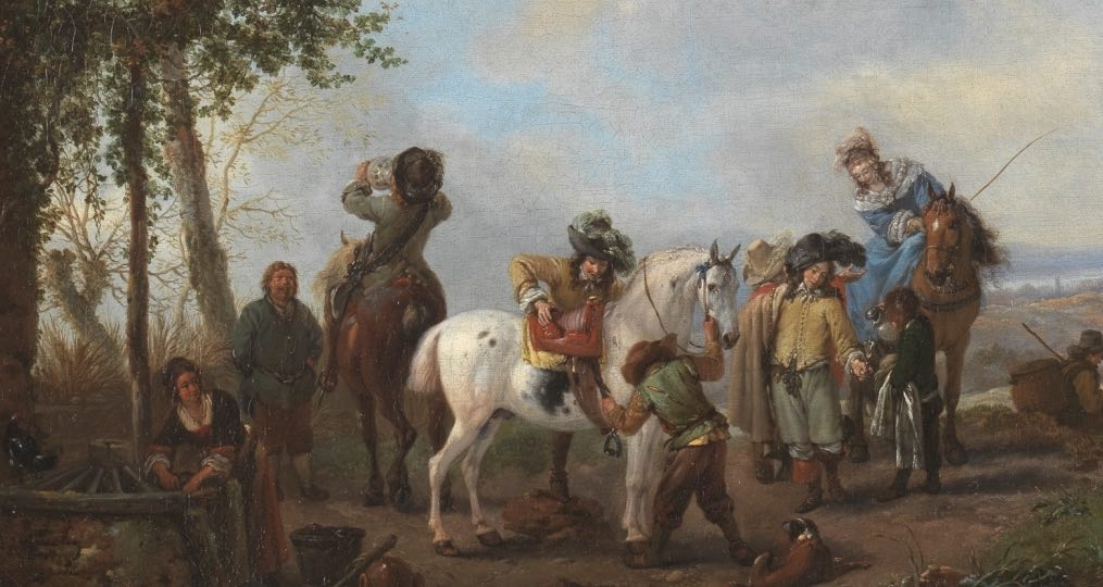 """""""Parada en la venta"""" (1655 – 1658), de Philips Wouwerman"""