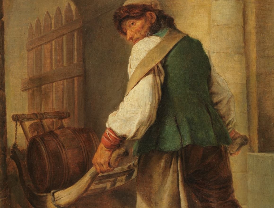 """Aldeano sajón acarreando un barril"" (hacia 1756), de Charles-François Hutin"