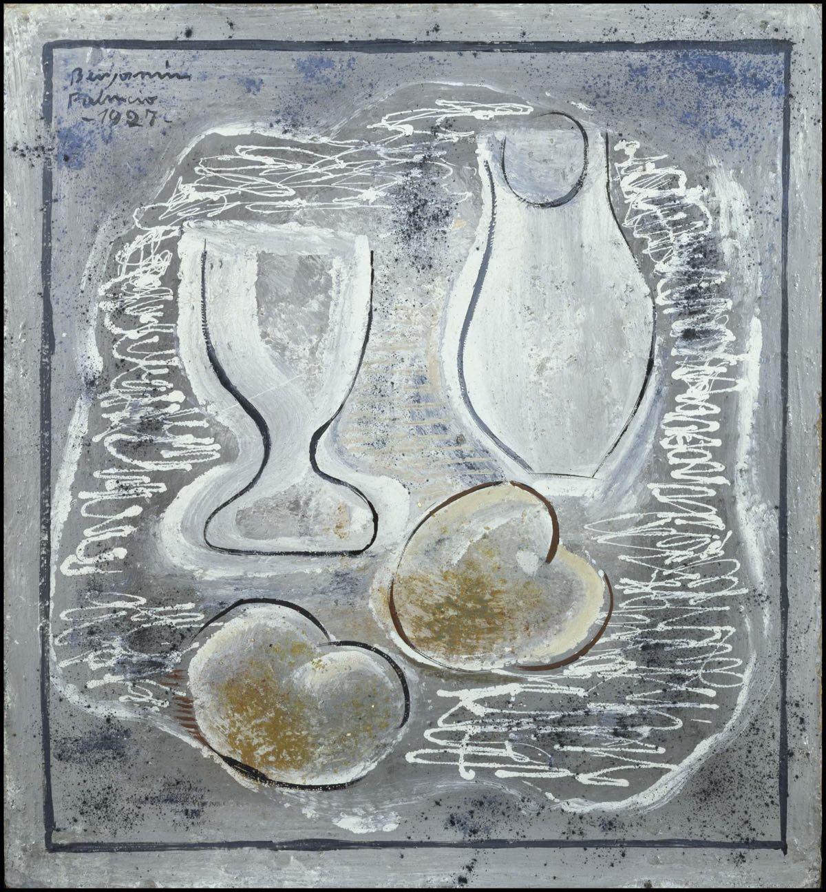 """""""Bodegón con copa, jarra y frutas blancas sobre fondo azul""""(1927), de Benjamín Palencia"""
