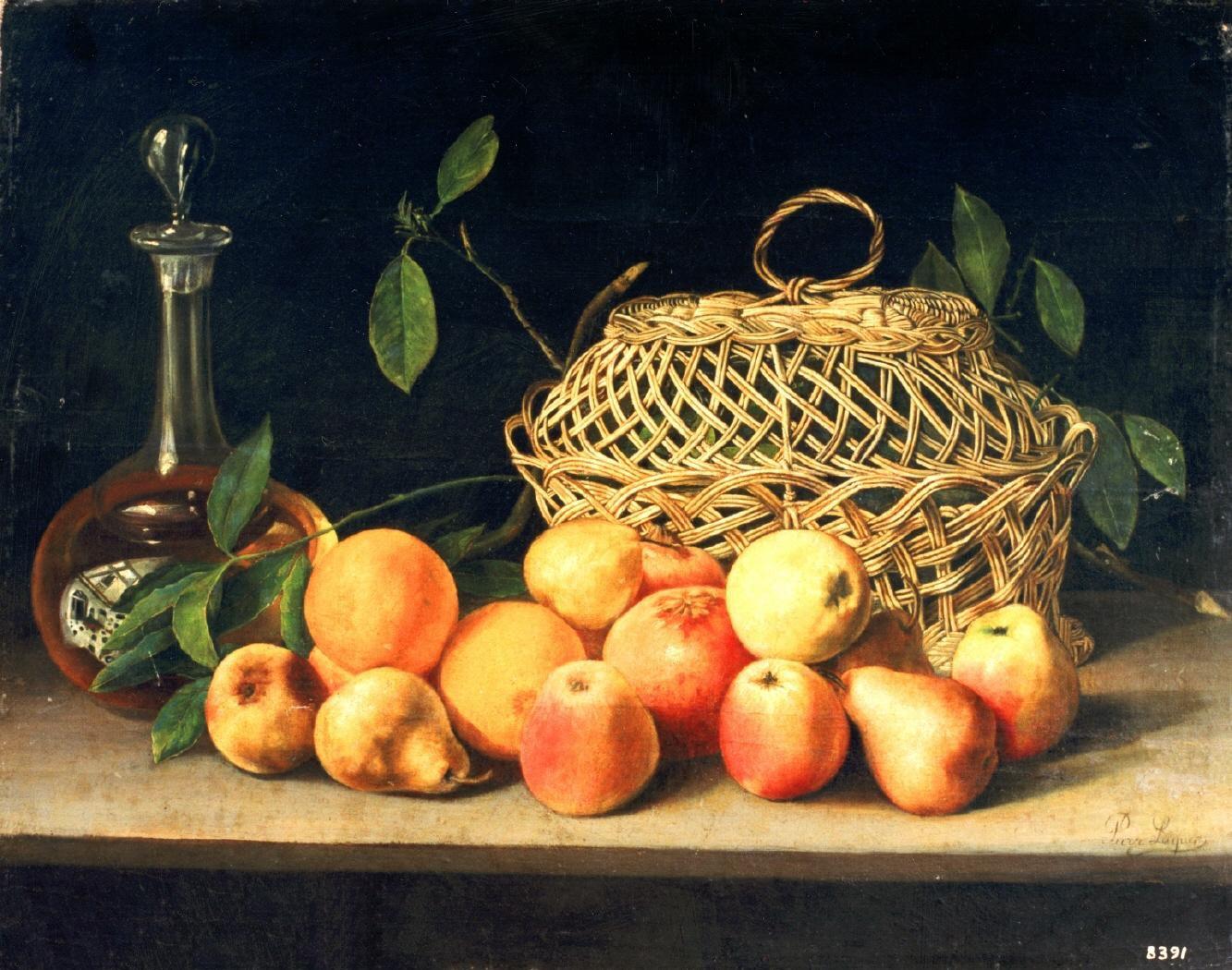 """Bodegón de frutas"" (siglo XIX), de Pura Luques"