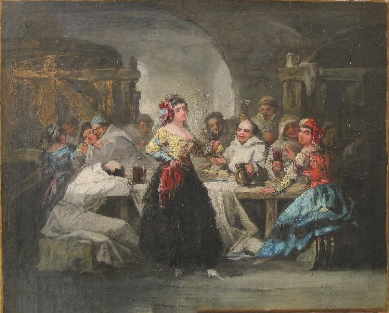 """""""Majas y frailes en una bodega"""" (1850-1870), de Eugenio Lucas Velázquez"""