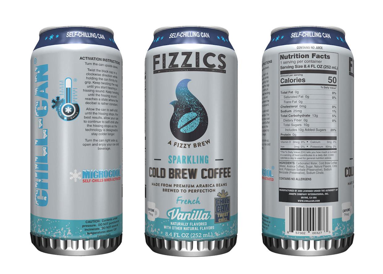 Fizzics Sparkling Cold Brew Coffee, una lata que enfría la bebida de forma automática