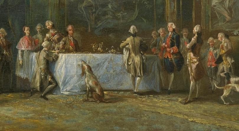 """""""Carlos III comiendo ante su corte"""" (hacia 1775), de Luis Paret"""