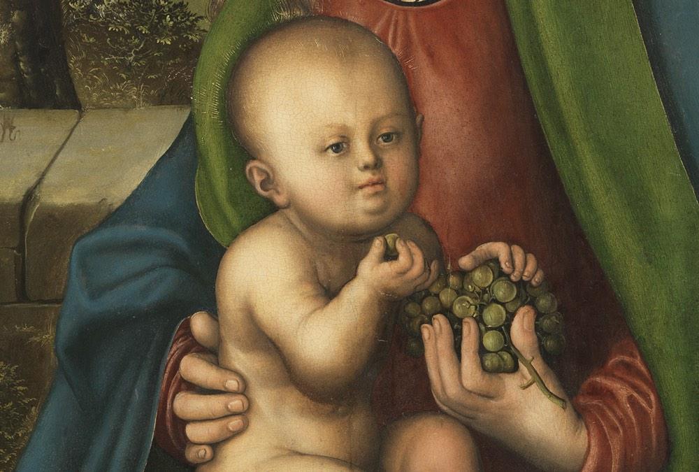 """""""La Virgen y el Niño con un racimo de uvas"""" (hacia 1509 – 1510), de Lucas Cranach el Viejo"""