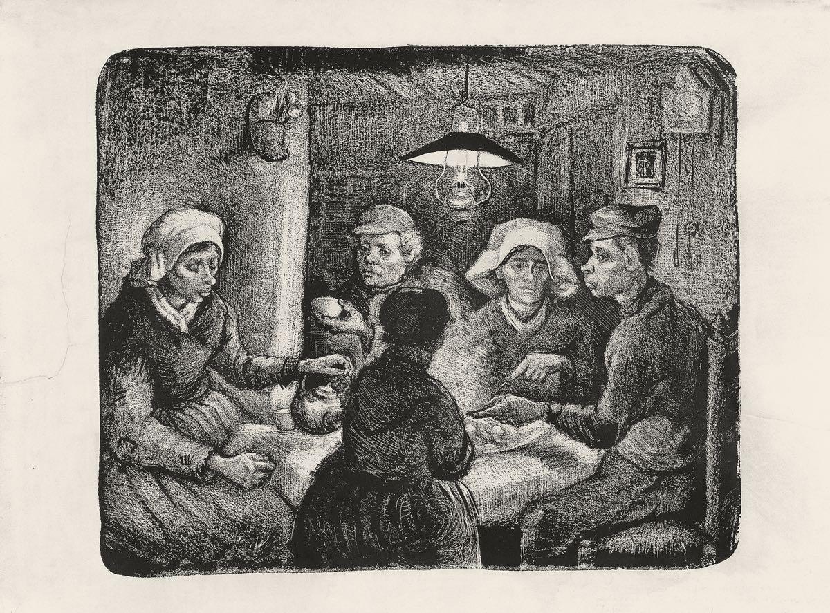 """""""Campesinos comiendo patatas"""" (1885), de Vincent van Gogh"""