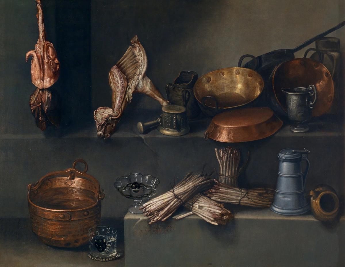 """""""Bodegón con recipientes de cocina y espárragos"""" (hacia 1652), de Ignacio Arias"""