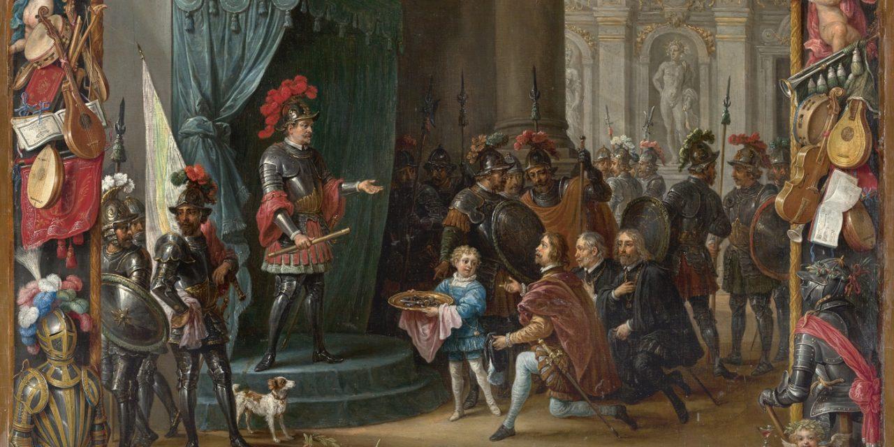 """""""La rendición de los rebeldes sicilianos a Antonio de Moncada en 1411"""" (1663), de David Teniers II y Jan van Kessel I"""