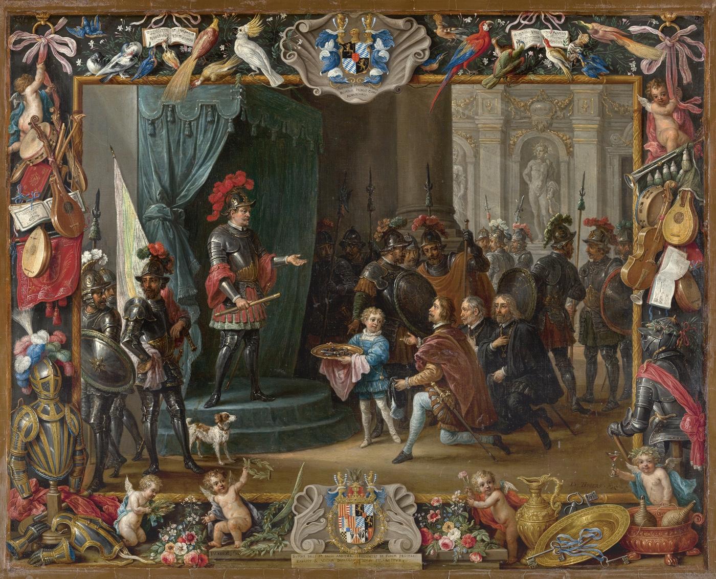 TENIERS II, David y KESSEL II, Jan van_La rendición de los rebeldes sicilianos a Antonio de Moncada en 1411, 1663_ 388 (1969.15) / Stitched Panorama