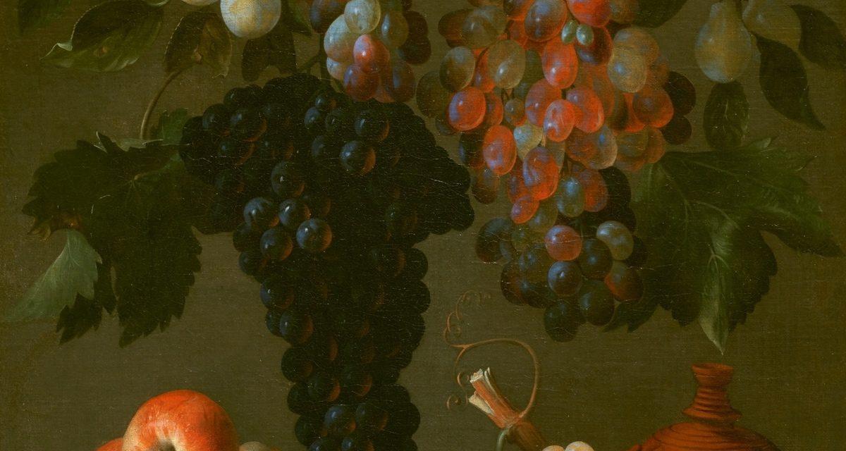 """""""Bodegón de uvas, manzanas y ciruelas"""" (hacia 1630), de Juan de Espinosa"""
