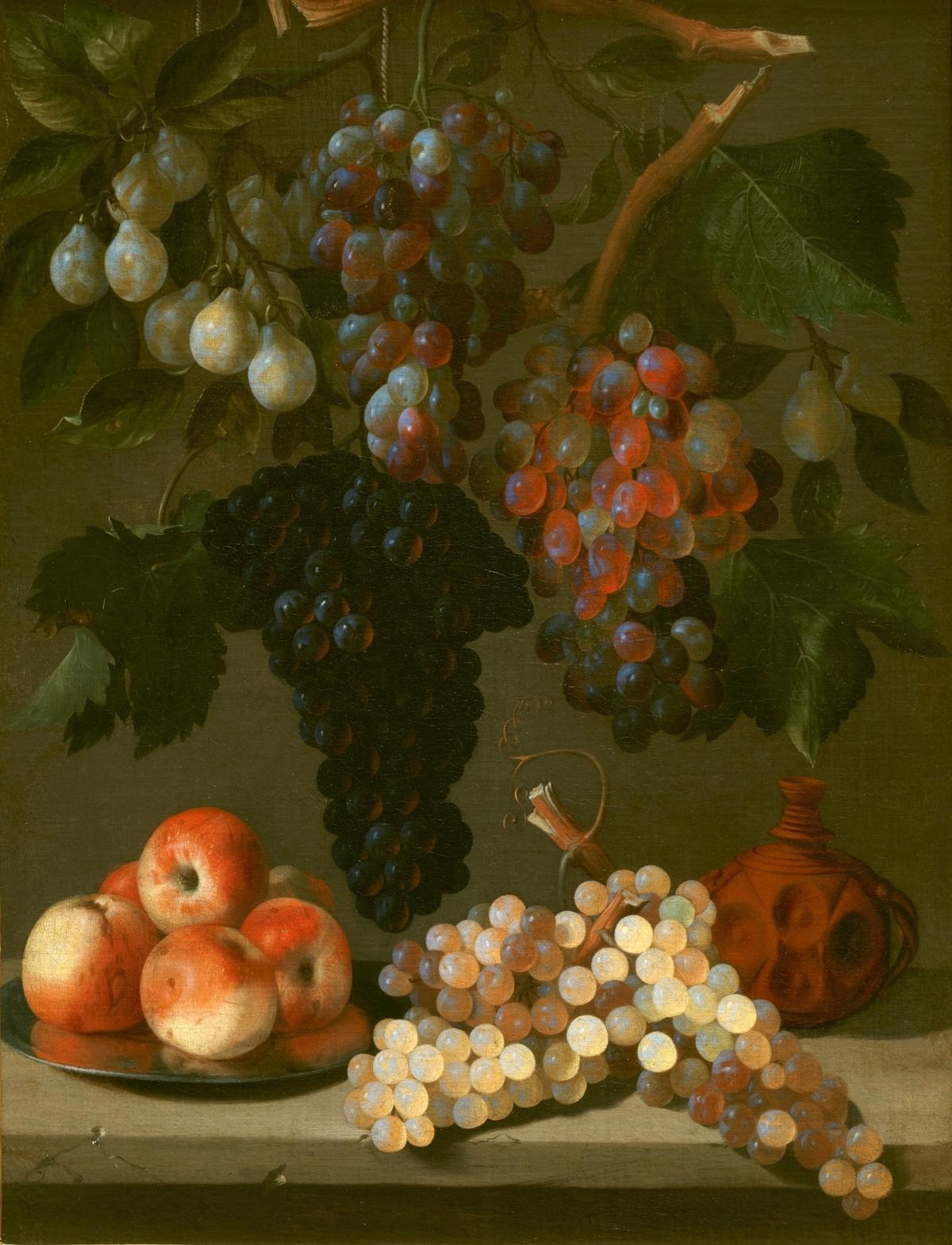 Bodegón de uvas, manzanas y ciruelas