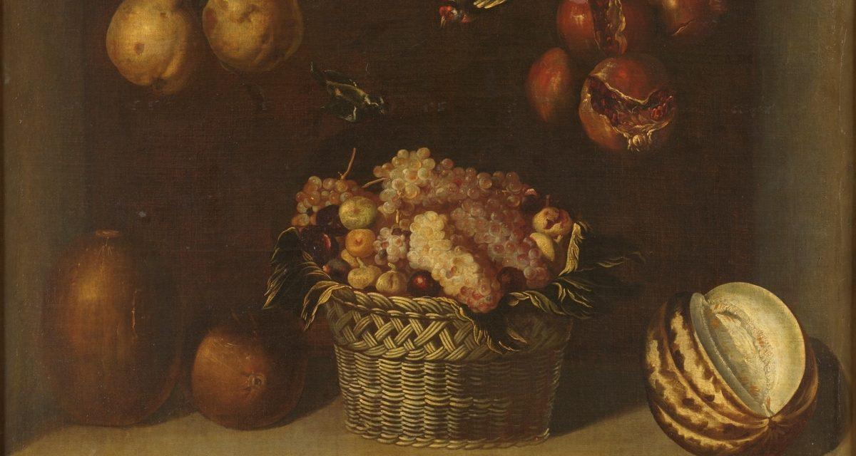 """""""Bodegón con cesta de uvas y otras frutas"""" (1624), de Alejandro de Loarte"""