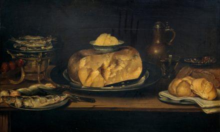"""""""Bodegón: mesa con vajilla, queso, salchichón y pescados"""" (primera mitad del siglo XVII), de Alexander van Adrianssen"""