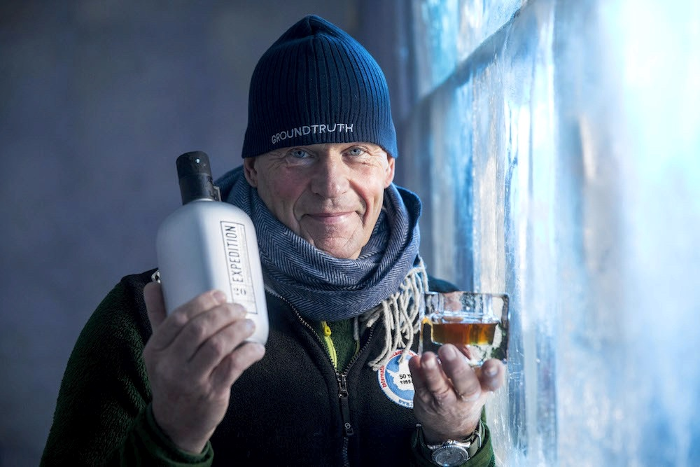 Polar explorer Robert Swan OBE will crack open the world's first bottle of Expedition whisky – in sub-zero ice bar. Each bottle of Ardgowan Expedition, a 20-year-old premium blended malt Scotch whisky, contains whisky which has travelled to the South Pole and back, carried by explorer Robert Swan OBE and his son Barney on their recent low-carbon mission