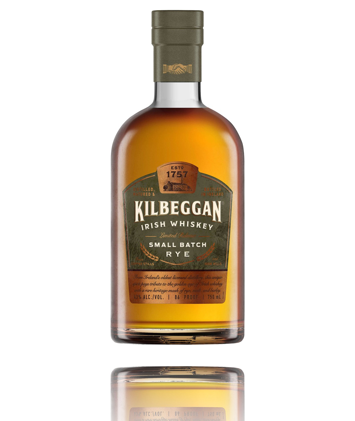 Kilbeggan Distilling Company introduces a new style of Irish Whiskey dating nearly 100 years in KilbegganÆ Small Batch Rye. This limited-edition Irish whiskey will be available in the United States in mid-November 2018 with a suggested retail price of $34.99 (43% ABV, 750ml). Photo credit: Beam Suntory.
