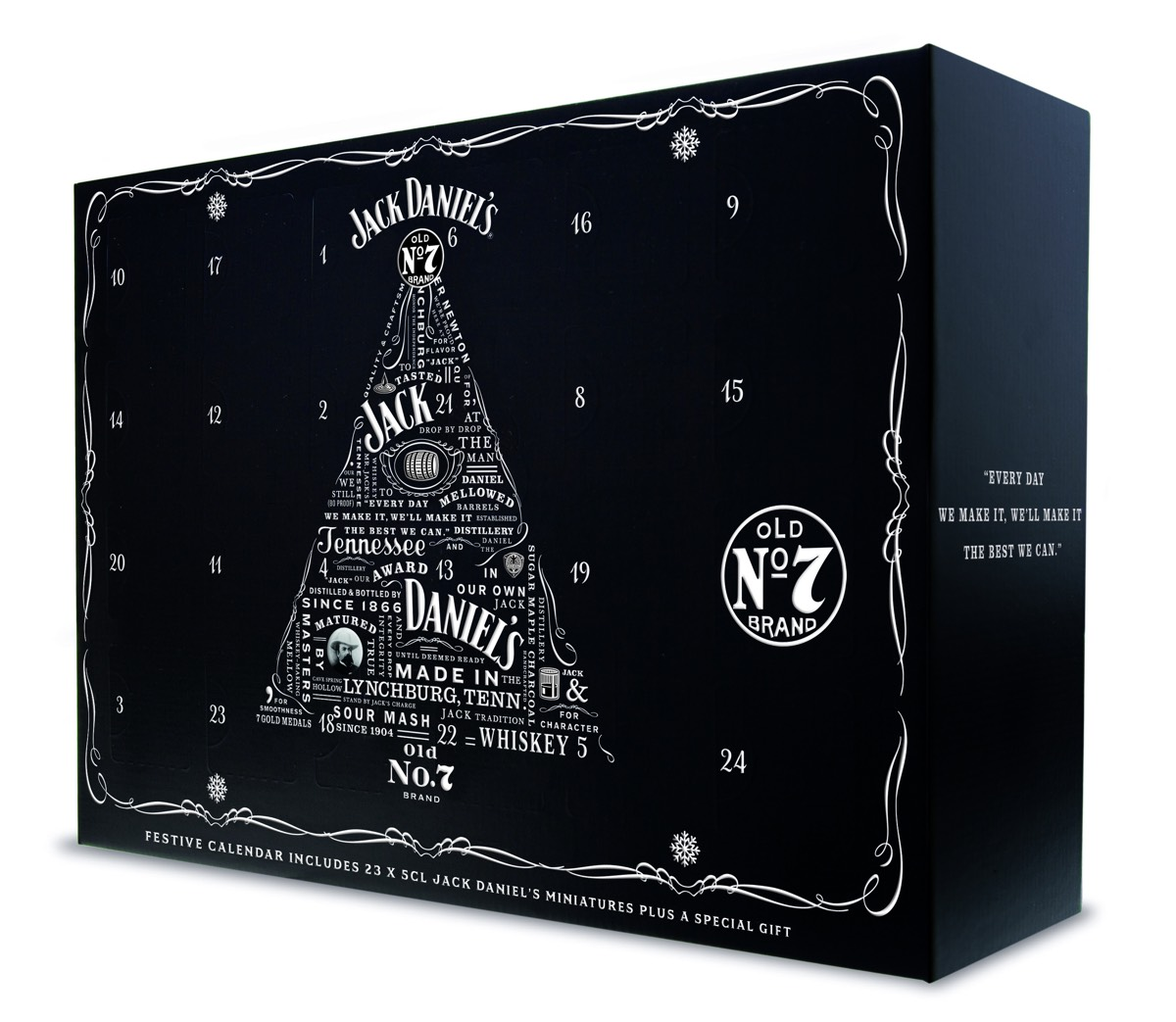 The Jack Daniel's Holiday Calendar contains 23 miniature whiskeys and a hip flask