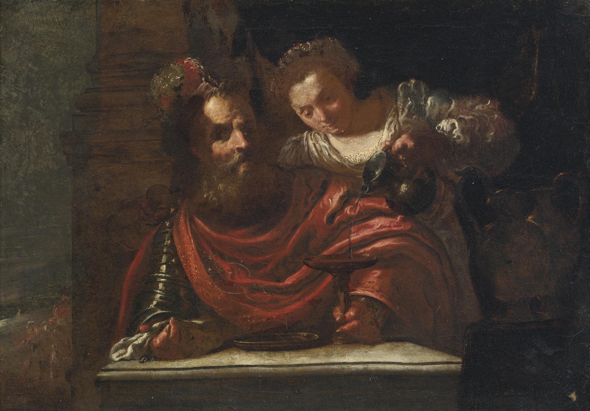 """Un hombre barbudo y una mujer sirviendo vino"" (siglo XVII), de Domenico Fetti"