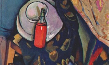 """A bottle of wine on the chair"" (1909), de Vladimir Baranov-Rossiné"