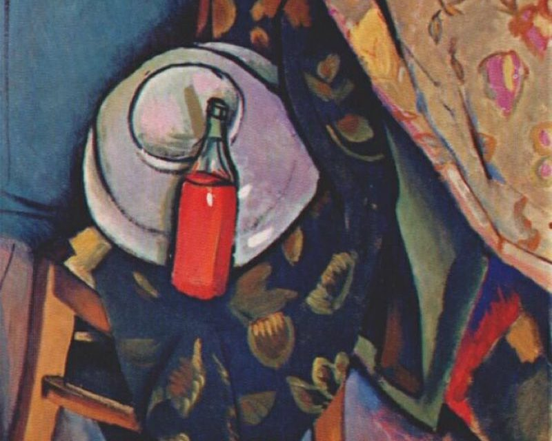 """""""A bottle of wine on the chair"""" (1909), de Vladimir Baranov-Rossiné"""