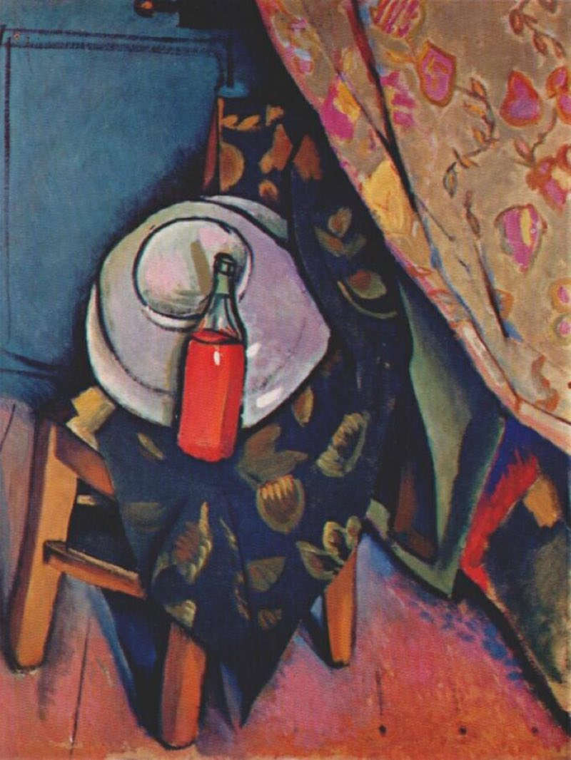 A bottle of wine on the chair (1909), de Vladimir Baranov-Rossiné