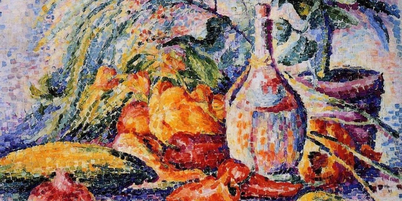 """Bodegón con botella de vino"" (1904), de Henri Edmond Cross"