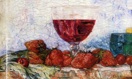 """""""Copa de vino tinto, cortadores y cerezas"""" (1892), de James Ensor"""