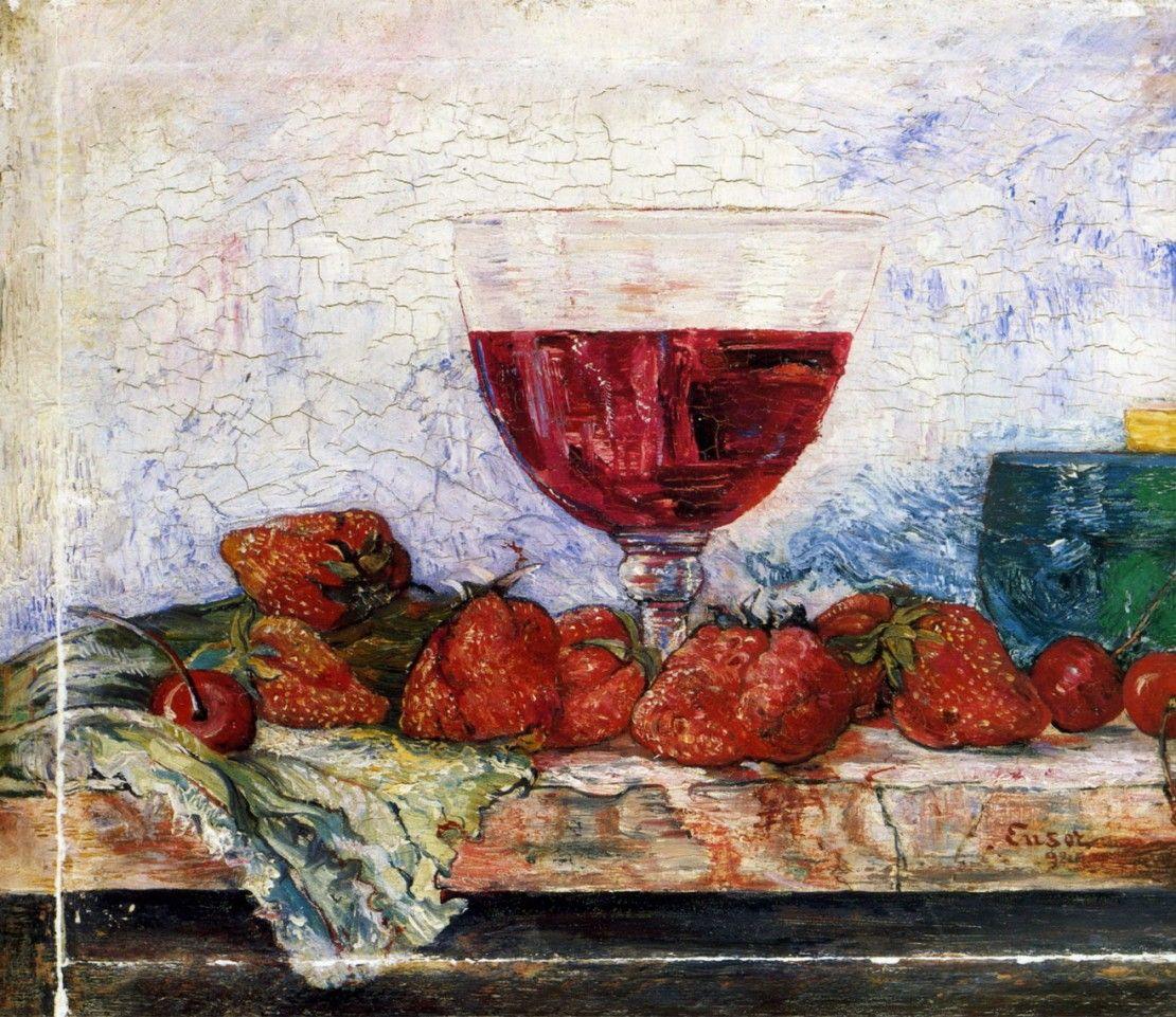 Copa de vino tinto, cortadores y cerezas (1892), de James Ensor