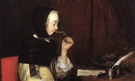 """""""Mujer bebiendo vino"""" (entre 1656 y 1657), de Gerard ter Borch"""