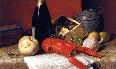 """Bodegón con langosta, fruta, champán y periódico"" (1881), de William Michael Harnett"