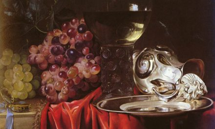"""Still life with grapes, a clock, a silver pitcher and a glass"" (1659), de Willem van Aelst"