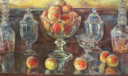 """Naturaleza muerta con melocotones y vidrio viejo"" (1902), de Childe Hassam"