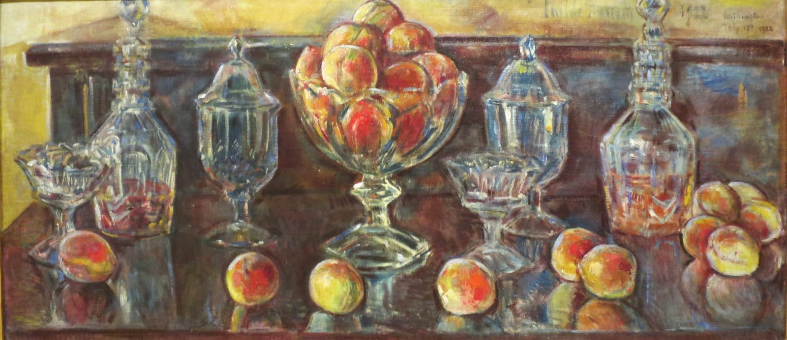 Childe_Hassam_-_'Still_Life_with_Peaches_and_Old_Glass',_oil_on_canvas_paiting_by_Childe_Hassam,_1902,_El_Paso_Museum_of_Art