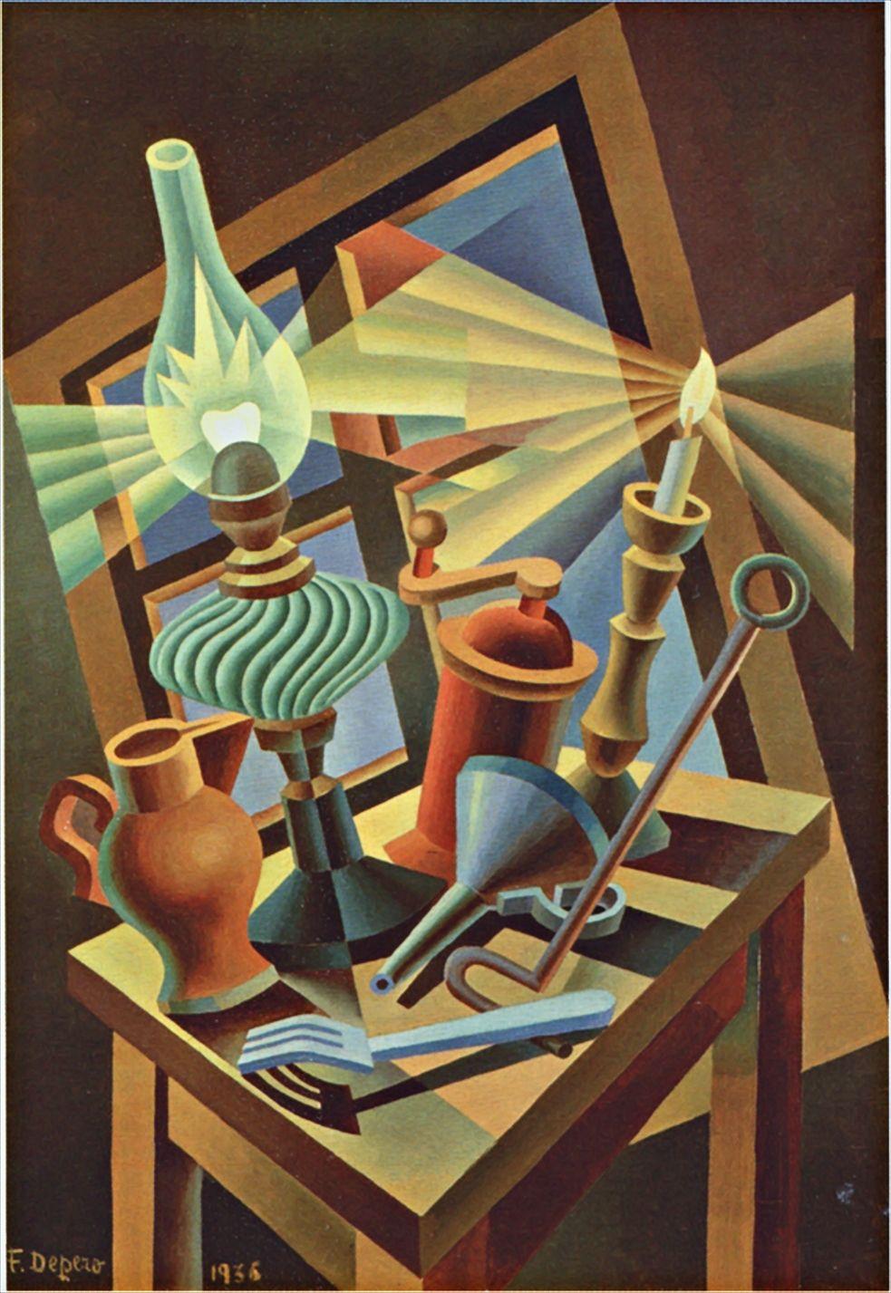 Fortunato Depero (1892-1960) Natura Morta Accesa, 1936.